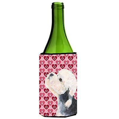 Dandie Dinmont Terrier Hearts Love Valentines Day Wine bottle sleeve Hugger