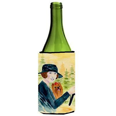 Lady Driving With Her Yorkie Wine bottle sleeve Hugger 24 oz.