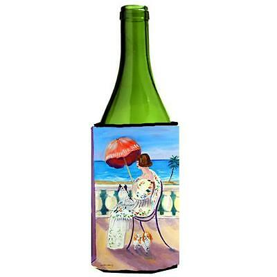 Carolines Treasures Lady With Her Japanese Chin Wine bottle sleeve Hugger