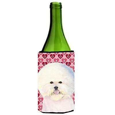 Bichon Frise Hearts Love And Valentines Day Wine bottle sleeve Hugger