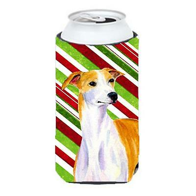 Whippet Candy Cane Holiday Christmas Tall Boy bottle sleeve Hugger 22 To 24 oz.