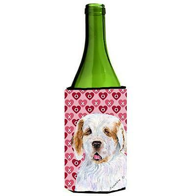 Clumber Spaniel Hearts Love And Valentines Day Wine bottle sleeve Hugger