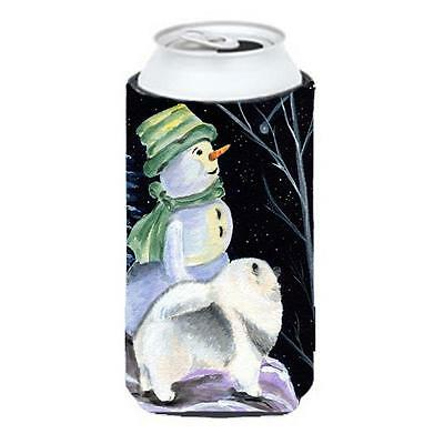 Snowman With Keeshond Tall Boy bottle sleeve Hugger 22 To 24 oz.