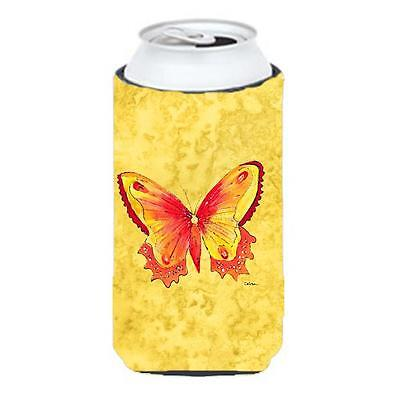 Butterfly On Yellow Tall Boy bottle sleeve Hugger 22 To 24 oz.