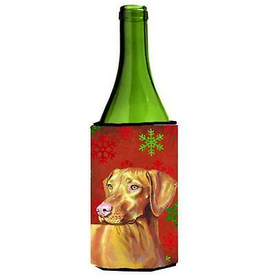 Vizsla Red And Green Snowflakes Holiday Christmas Wine bottle sleeve Hugger