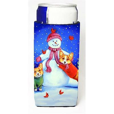 Carolines Treasures Snowman With Corgi Michelob Ultra bottle sleeve for Slim Can