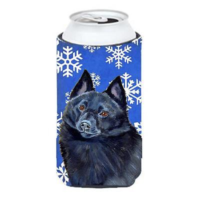 Schipperke Winter Snowflakes Holiday Tall Boy bottle sleeve Hugger 22 To 24 oz.