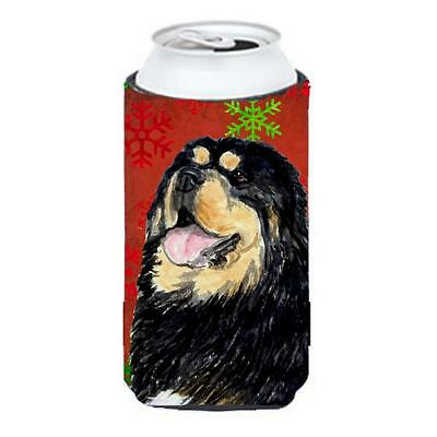 Tibetan Mastiff Red Green Snowflake Christmas Tall Boy bottle sleeve Hugger 2...