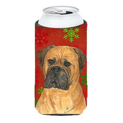 Bullmastiff Red And Green Snowflakes Holiday Christmas Tall Boy bottle sleeve...