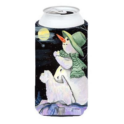 Snowman With Westie Tall Boy bottle sleeve Hugger 22 To 24 Oz.