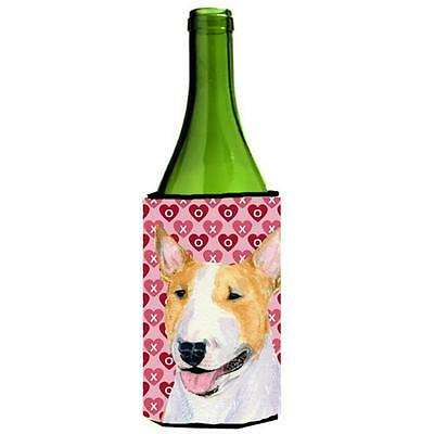 Bull Terrier Hearts Love And Valentines Day Portrait Wine bottle sleeve Hugge...