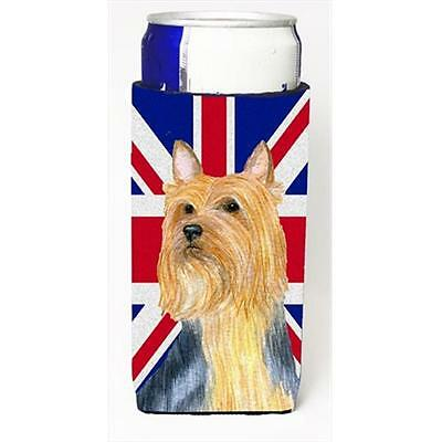 Silky Terrier With English Union Jack British Flag Michelob Ultra bottle slee...