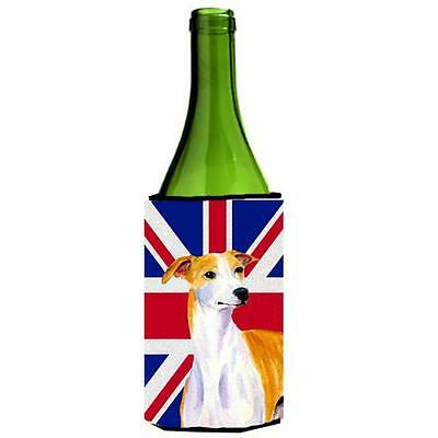Whippet With English Union Jack British Flag Wine bottle sleeve Hugger 24 Oz.