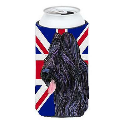 Briard With English Union Jack British Flag Tall Boy bottle sleeve Hugger 22 ...