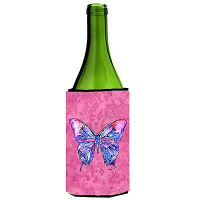 Carolines Treasures Butterfly On Pink Wine bottle sleeve Hugger 24 oz.