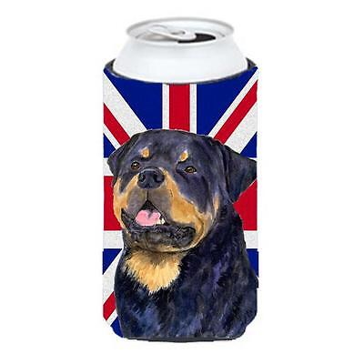 Rottweiler With English Union Jack British Flag Tall Boy bottle sleeve Hugger...