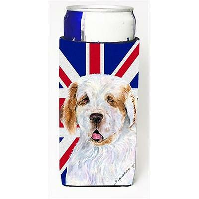 Clumber Spaniel With English Union Jack British Flag Michelob Ultra bottle sl...