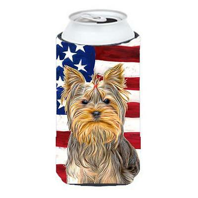 USA American Flag with Yorkie & Yorkshire Terrier Tall Boy bottle sleeve Hugger