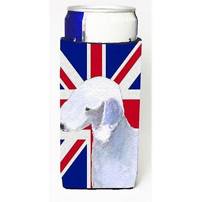 Bedlington Terrier With English Union Jack British Flag Michelob Ultra bottle...