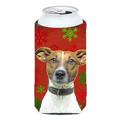 Red Snowflakes Holiday Christmas Jack Russell Terrier Tall Boy bottle sleeve ...