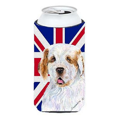 Clumber Spaniel With English Union Jack British Flag Tall Boy bottle sleeve H...