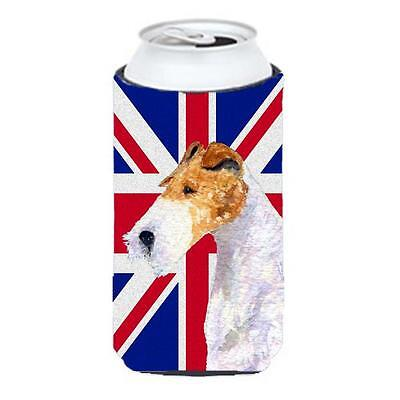 Fox Terrier With English Union Jack British Flag Tall Boy bottle sleeve Hugge...