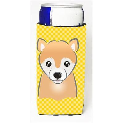 Yellow Checkered Shiba Inu Michelob Ultra bottle sleeves for slim cans