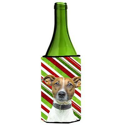 Candy Cane Holiday Christmas Jack Russell Terrier Wine bottle sleeve Hugger