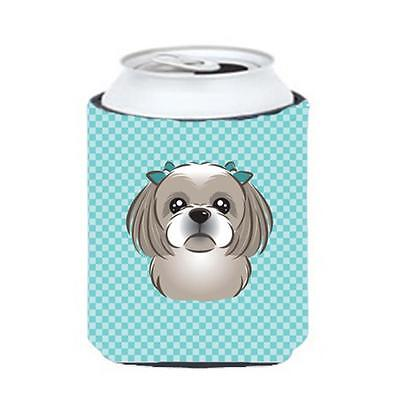 Checkerboard Blue Gray Silver Shih Tzu Can Or Bottle Hugger, 12 Oz.