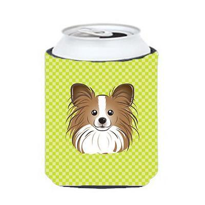 Checkerboard Lime Green Papillon Can Or Bottle Hugger, 12 Oz.