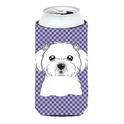 Carolines Treasures Purple Checkered Maltese Tall Boy bottle sleeve Hugger