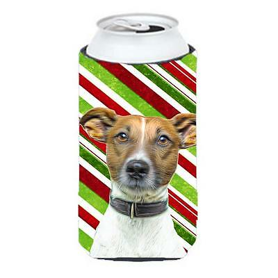 Candy Cane Holiday Christmas Jack Russell Terrier Tall Boy bottle sleeve Hugger
