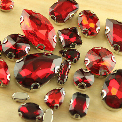Faceted glass crystal rhinestones sew on red teardrop/rectangle diy jewels Y-pk