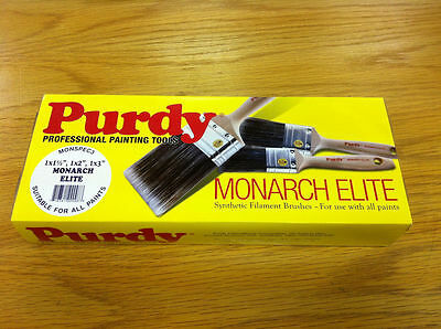 "Purdy XL Monarch Elite Synthetic Paint Brush Set 1.5"", 2"" and 3"""