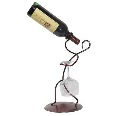 Metrotex Designs 28061 Iron Borracho Stem And Wine Bottle Holder, Merlot Finish