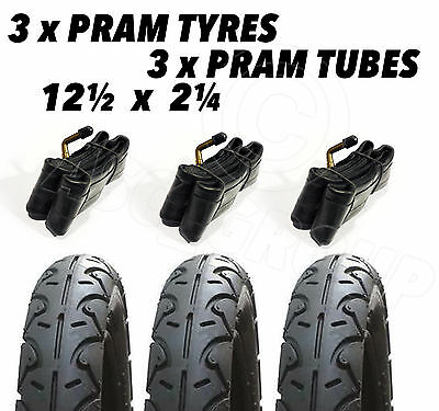 3 X Pram Tyres & 3x Tubes 12 1/2 X 2 1/4 Slick Valco Runabout, Phil & teds Sport
