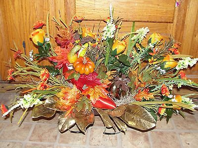 High Heel Autumn Cemetery Grave Headstone Fall Flower Orange Roses Gold Pumpkin