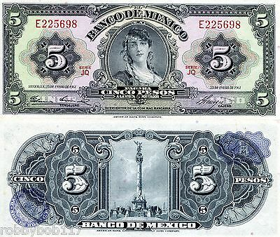 MEXICO 5 Pesos Banknote World Money aUNC Currency BILL South America Note p60f