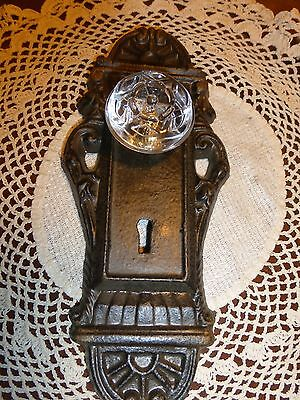 Cast Iron decorative door plate acrylic glass knob beautiful brown/olive tones