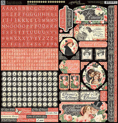 Graphic45 MON AMOUR 12x12 Sticker Sheet scrapbooking VINTAGE ROMANCE