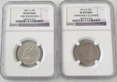 2 - Silver Quarters - 1891 S Seated Liberty, 1915 D Barber NGC XF Details