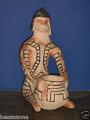 Old Pottery Seated Native Figure Statuette with Vessel