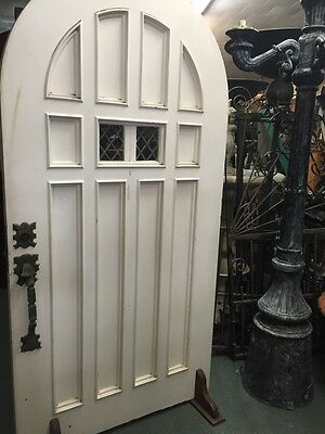 Antique Vintage Old 1920's Arched Front Door With Amazing Rare Hardware