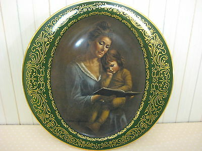 Pickard China Story Time Lrene Spencer Mother's Love Series Green & Gold Plate