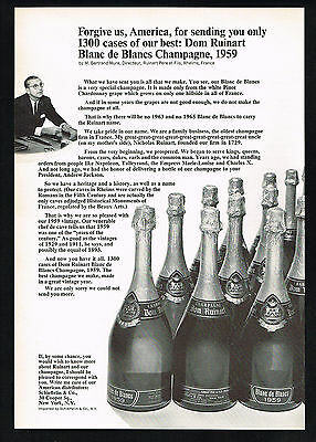 1966 Dom Ruinart Blanc Champagne 1959 Vintage Forgive Us Print Ad