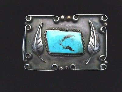 Vintage Old Pawn Navajo Silver and Turquoise Buckle STERLING Cripple Creek GR260