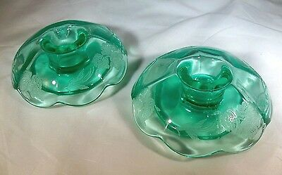 "Paden City Peacock & Wild Rrose Green Pair 5"" Mushroom Rolled-Edge Candlesticks!"