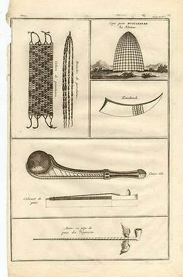 Antique Print-PIPE-INDIAN-TOMAHAWK-USA-Picart-1727