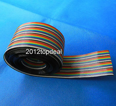 1M 2M 3M 4M 5M 10M 40pin Dupont Wire Flat Color Rainbow Ribbon Cable Wire 1.17mm