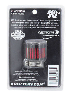 """K&N Universal Rubber Base Crankcase Vent Air Filter Valve Cover Breather 3/4"""""""